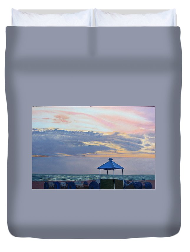 Sunset Duvet Cover featuring the painting Day Is Done by Lea Novak