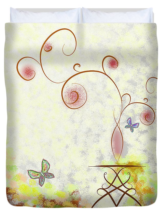 Graphic Duvet Cover featuring the mixed media Day by Len YewHeng