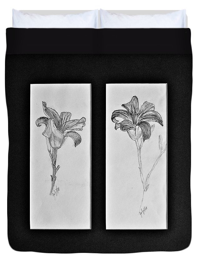 Pencil Sketches Duvet Cover featuring the drawing Day Lilies by Peggy King