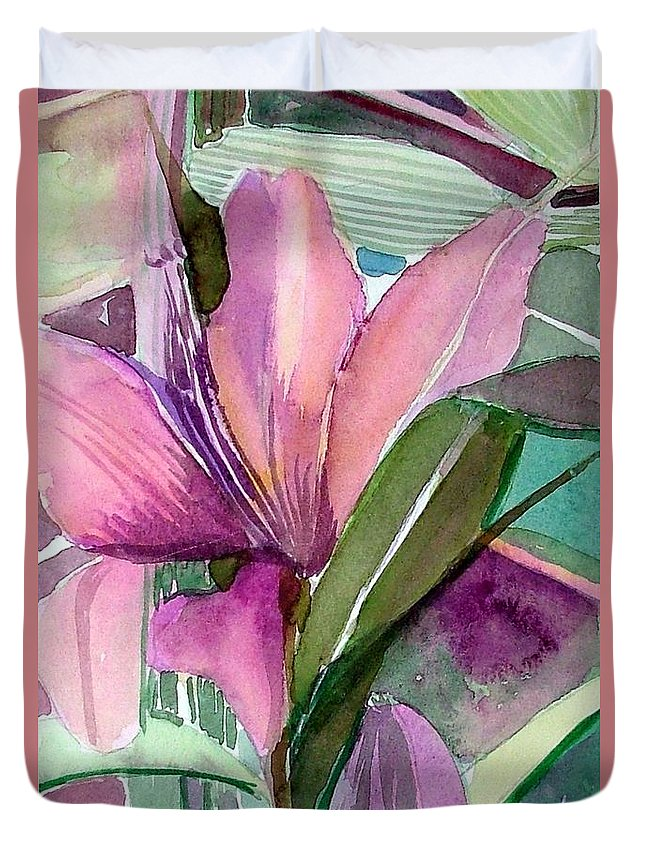 Flower Duvet Cover featuring the painting Day Lily Pink by Mindy Newman
