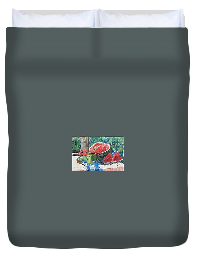 Summer Still-life Duvet Cover featuring the painting Day Of A Water-melon by Juliya Zhukova