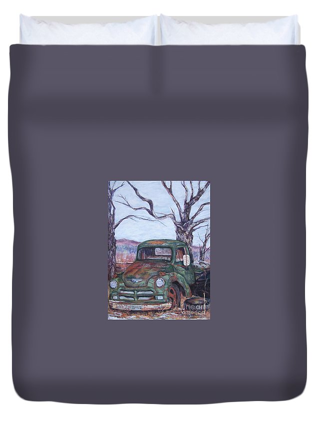 Vintage Truck Duvet Cover featuring the pastel Day Of Rest - Old Friend Iv by Alicia Drakiotes