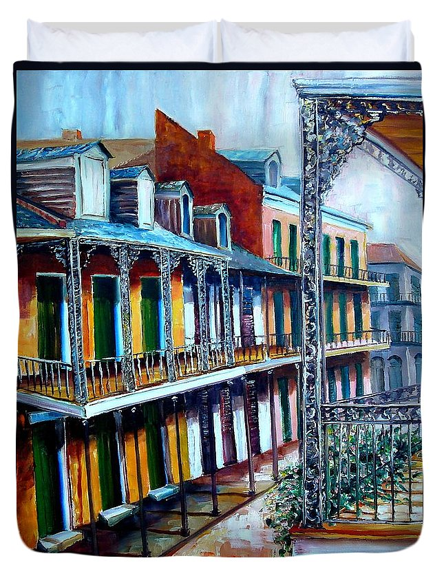 New Orleans Duvet Cover featuring the painting Daybreak On St. Ann Street by Diane Millsap