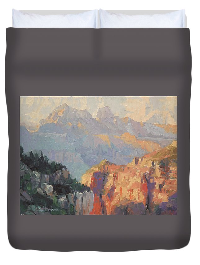 Grand Canyon Duvet Cover featuring the painting Daybreak by Steve Henderson