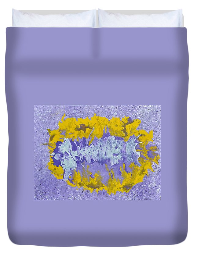 Acrylic Abstract Art Duvet Cover featuring the painting Daydreaming by Georgeta Blanaru