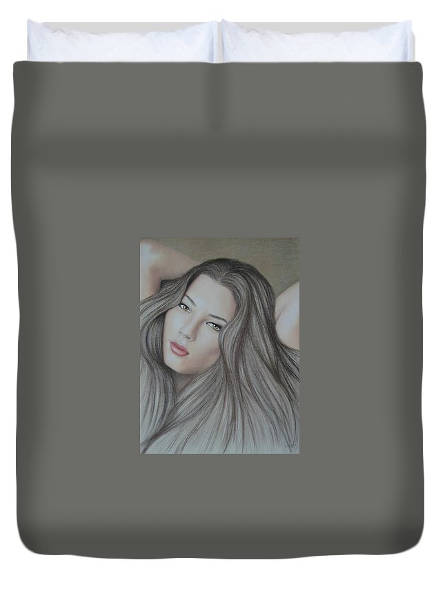 Woman Duvet Cover featuring the painting Daydreaming by Lynet McDonald