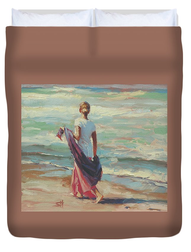 Coast Duvet Cover featuring the painting Daydreaming by Steve Henderson