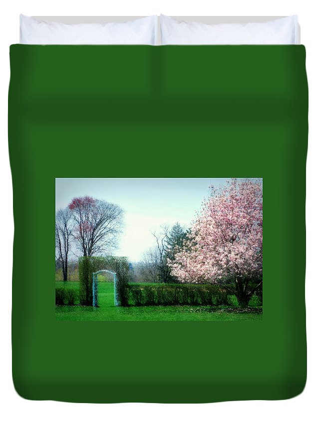 Cherry Blossoms Duvet Cover featuring the photograph Daydreams by Diana Angstadt