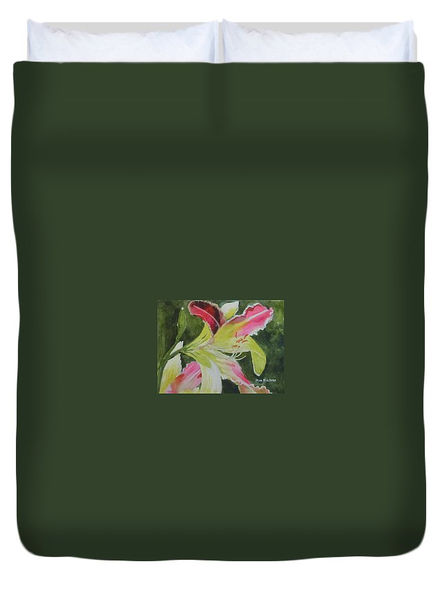 Daylily Duvet Cover featuring the painting Daylily Study 1 by Jean Blackmer