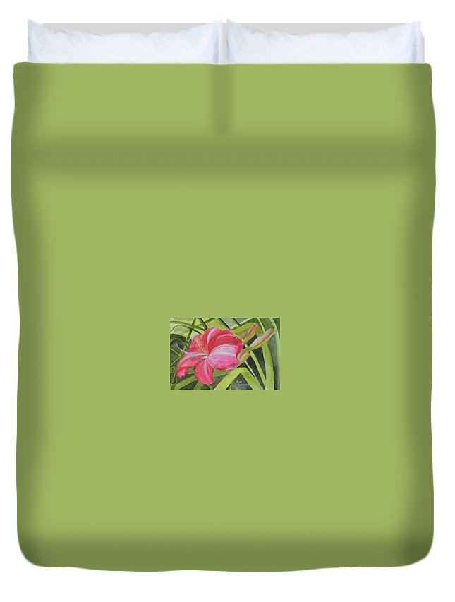 Daylily Duvet Cover featuring the painting Daylily Study II by Jean Blackmer