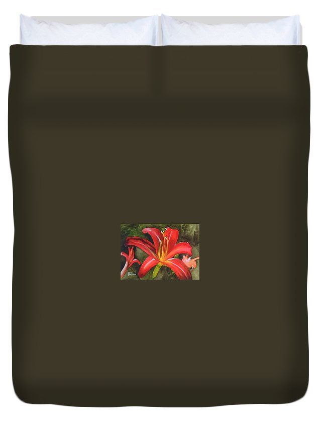 Red Duvet Cover featuring the painting Daylily Study IV by Jean Blackmer