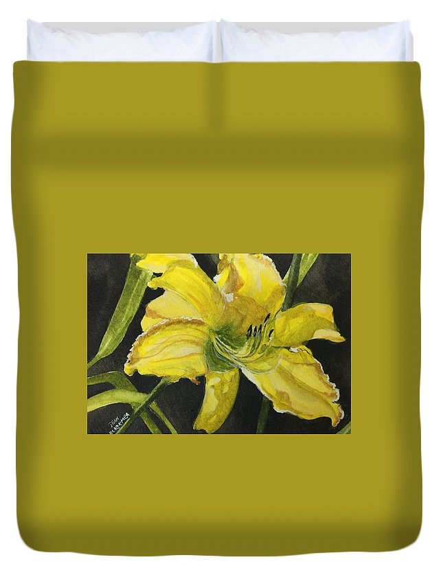 Yellow Duvet Cover featuring the painting Daylily Study V by Jean Blackmer