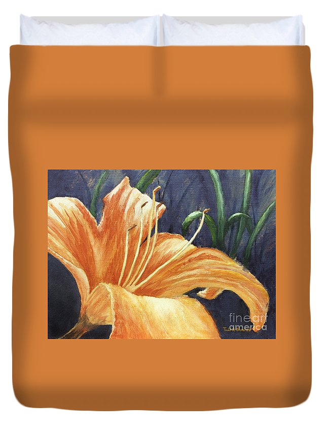 Flower Duvet Cover featuring the painting Daylily by Todd A Blanchard