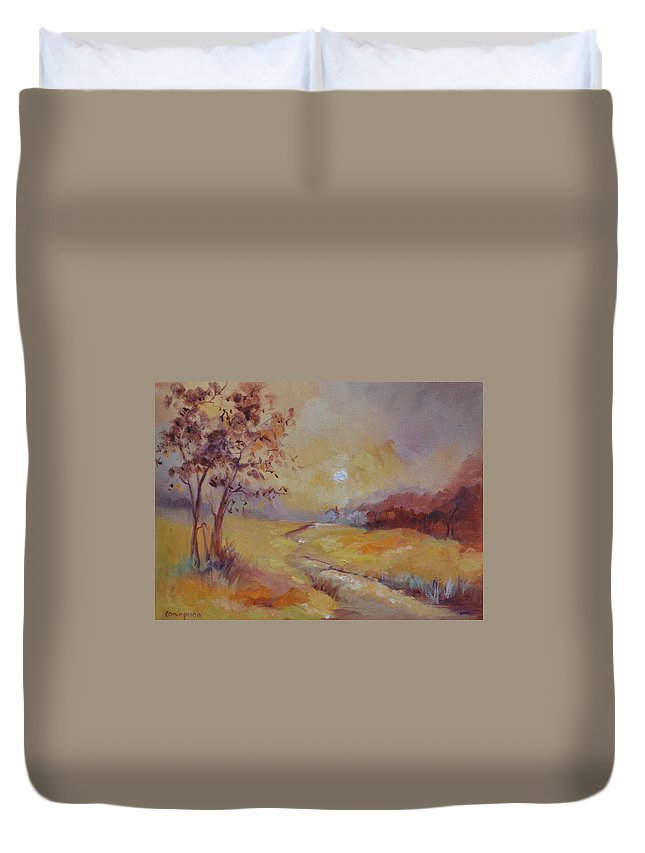Evening Landscape Duvet Cover featuring the painting Day's End by Ginger Concepcion