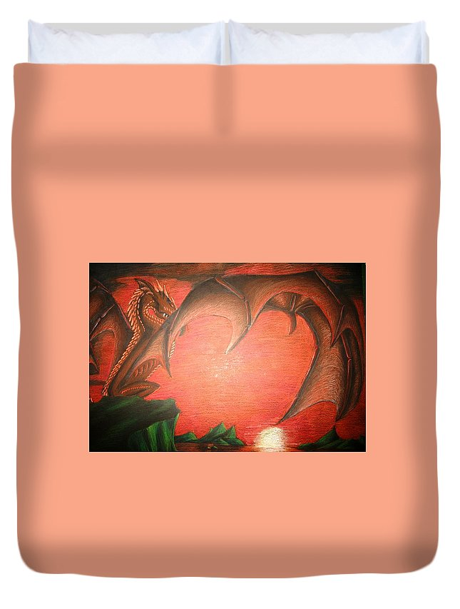 Dragon Duvet Cover featuring the drawing Days End by Melissa Wiater Chaney
