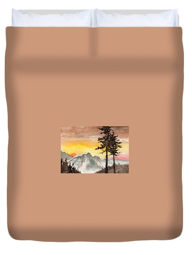 Landscape Duvet Cover featuring the painting Day's Passing by Brenda Owen