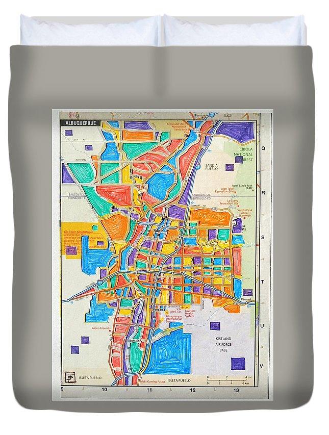 Map Duvet Cover featuring the mixed media De Colores Albuquerque by John Parish