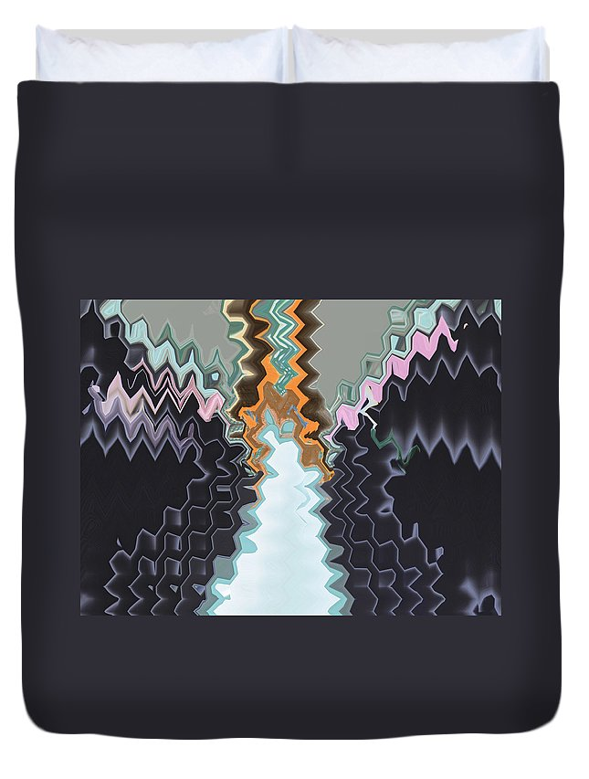 Abstract Duvet Cover featuring the digital art Dead Man Walking by Lenore Senior