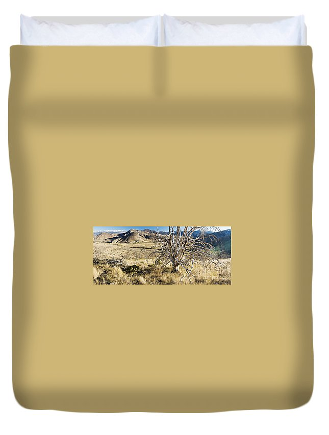 Western Scenes Duvet Cover featuring the photograph Dead Tree Panorama by Norman Andrus