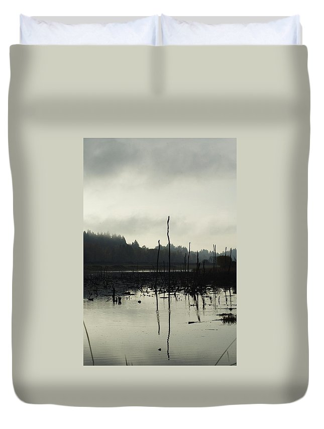 Dead Tree Duvet Cover featuring the photograph Dead Tree Waters by Sara Stevenson