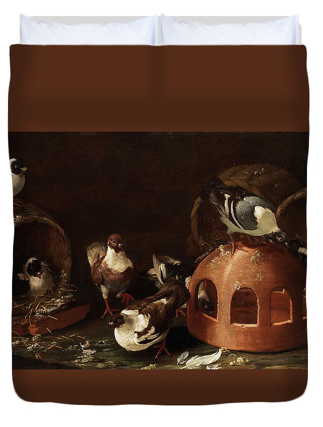 Owl Duvet Cover featuring the painting Deaf Between Feed Trough And Baskets by Giovanni Agostino Cassana
