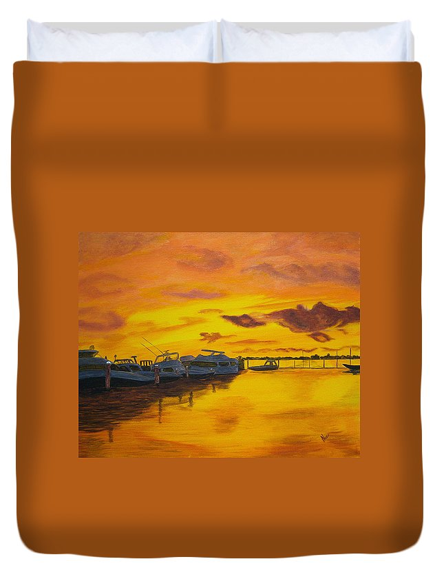 Sunset Duvet Cover featuring the painting Deans Sunset by Nancy Nuce