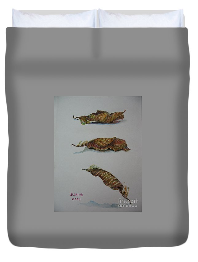 Leaf Duvet Cover featuring the painting Death Leaf Walking by Sukalya Chearanantana