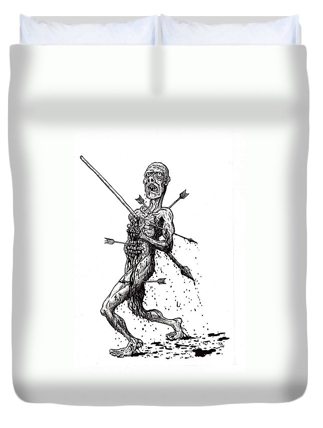 Dark Duvet Cover featuring the drawing Death March by Tobey Anderson