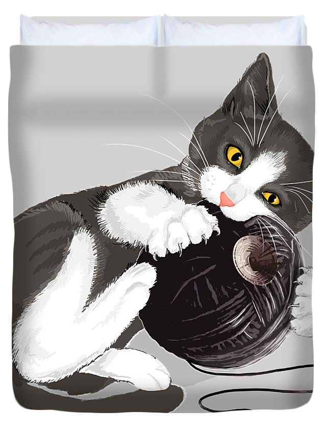 Death Star Duvet Cover featuring the digital art Death Star Kitty by Olga Shvartsur