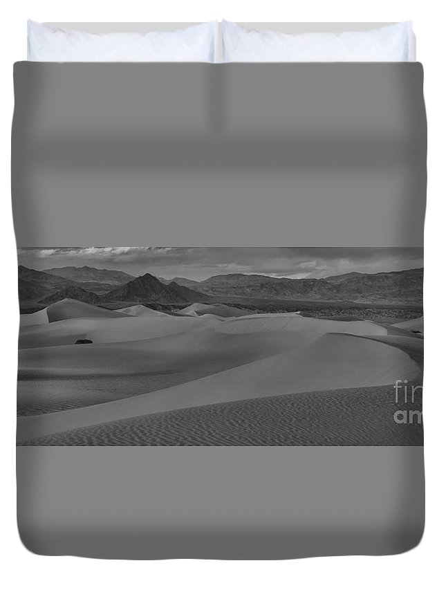 Black And White Duvet Cover featuring the photograph Death Valley Dunes Black And White Panorama by Adam Jewell