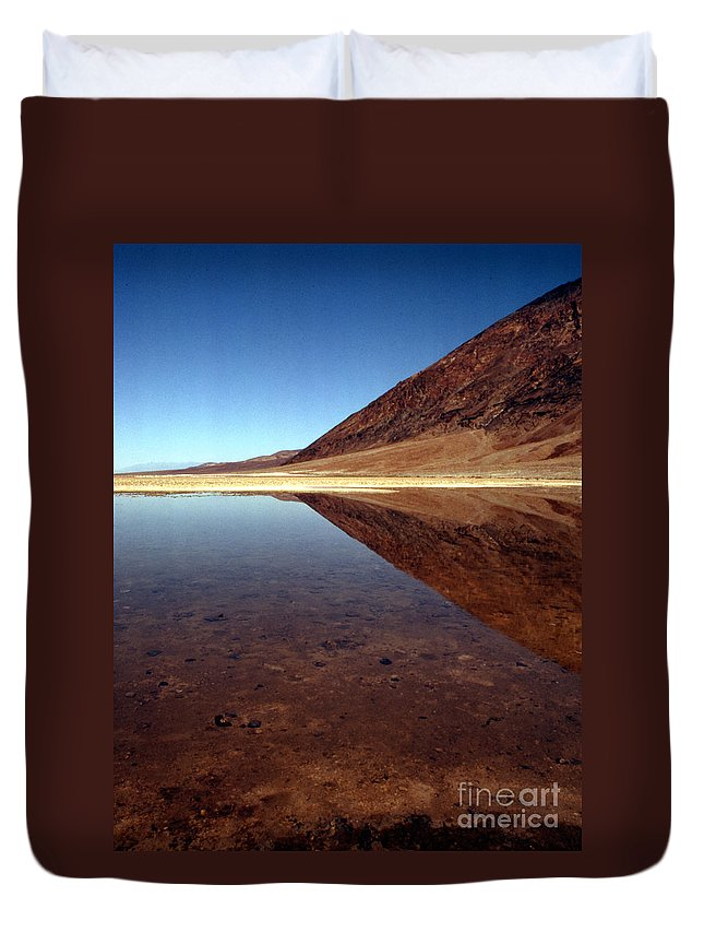 Desert Duvet Cover featuring the photograph Death Valley Lake by Norman Andrus