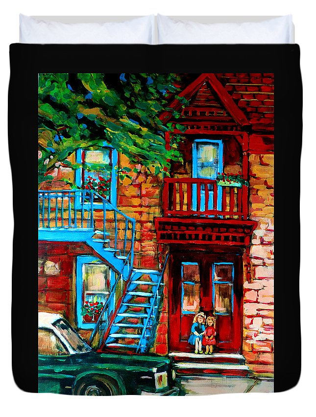 Montreal Streetscenes Duvet Cover featuring the painting Debullion Street Neighbors by Carole Spandau