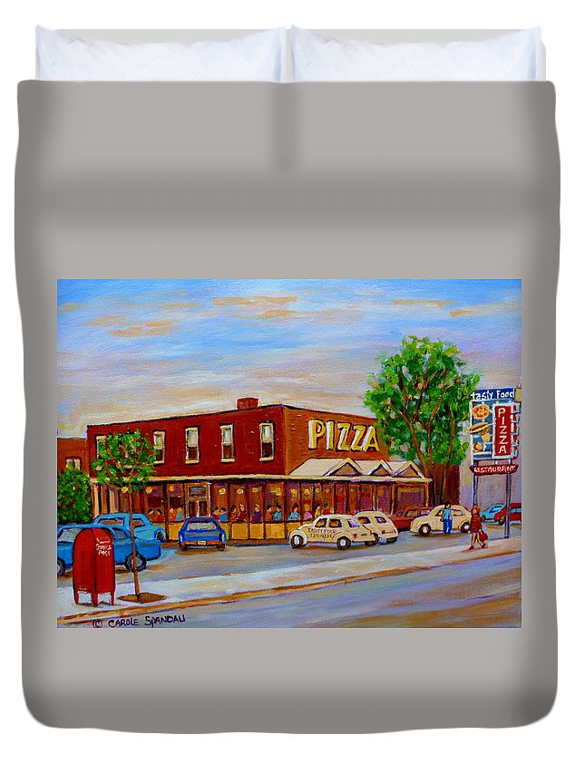 Tasty Food Pizza Duvet Cover featuring the painting Decarie Tasty Food Pizza by Carole Spandau