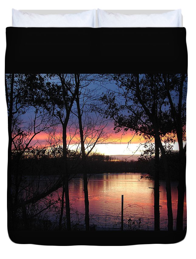 Red Gold Blue Lake Trees Duvet Cover featuring the photograph December Sunset by Luciana Seymour