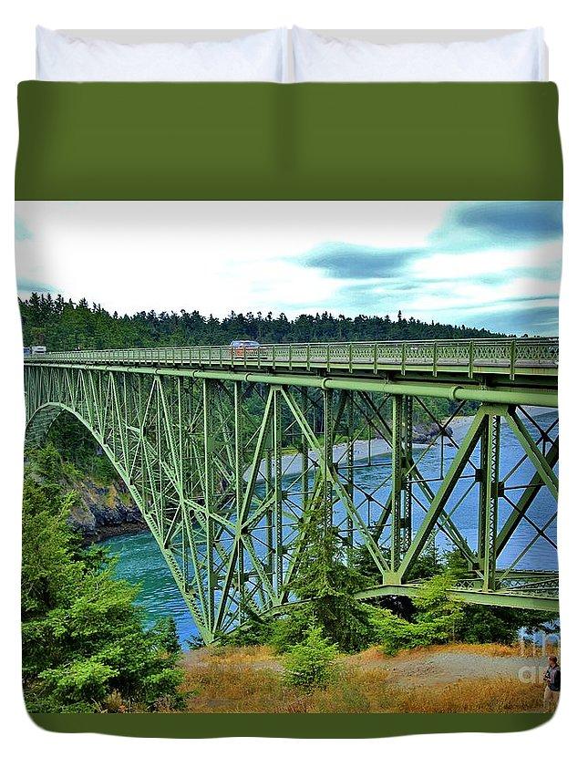 Puget Sound Duvet Cover featuring the photograph Deception Pass Bridge by Terry Matysak