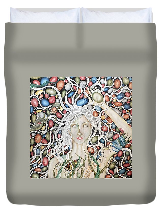 Nature Duvet Cover featuring the painting Deception Pass by Heather Henry