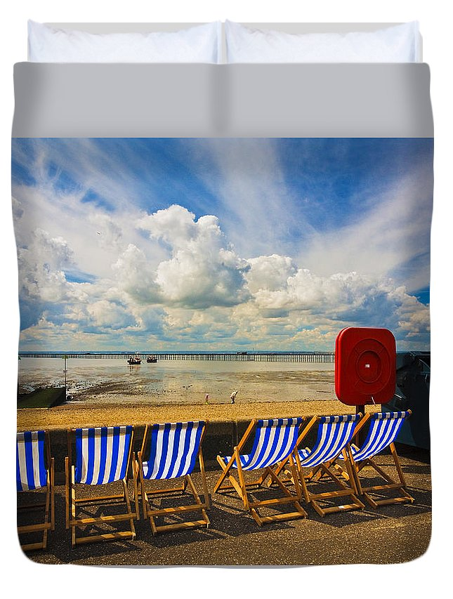 Southend On Sea Duvet Cover featuring the photograph Deck Chairs At Southend On Sea by Sheila Smart Fine Art Photography