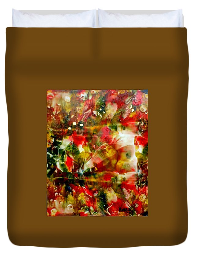 Window Duvet Cover featuring the painting Deck The Halls by Susan Kubes