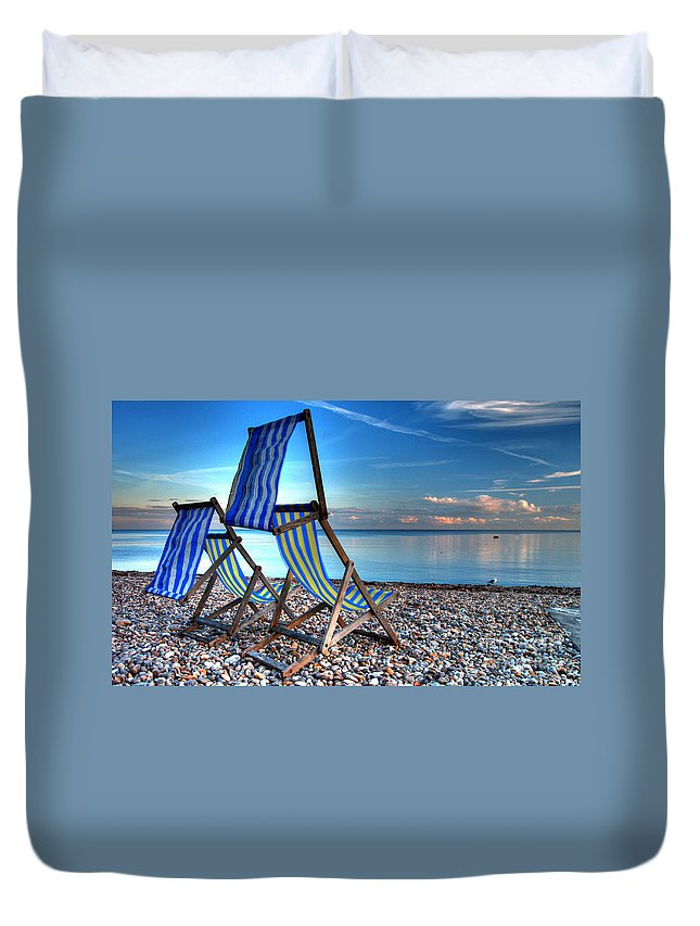 Deckchairs Duvet Cover featuring the photograph Deckchairs On The Shingle by Rob Hawkins
