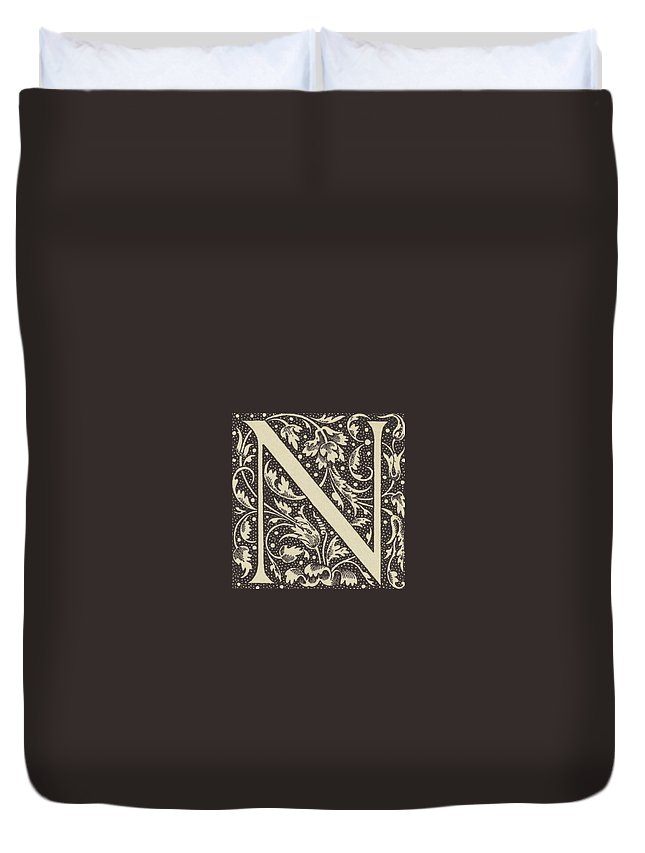 N Duvet Cover featuring the drawing Decorative N by French School