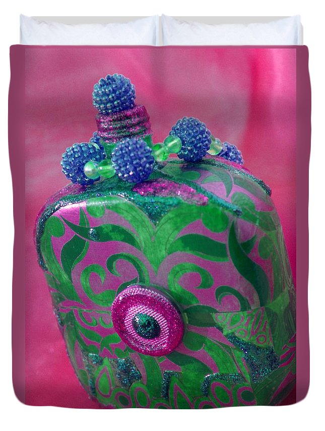 Green Duvet Cover featuring the photograph Decorative Pink Bottle by Tamarra Tamarra