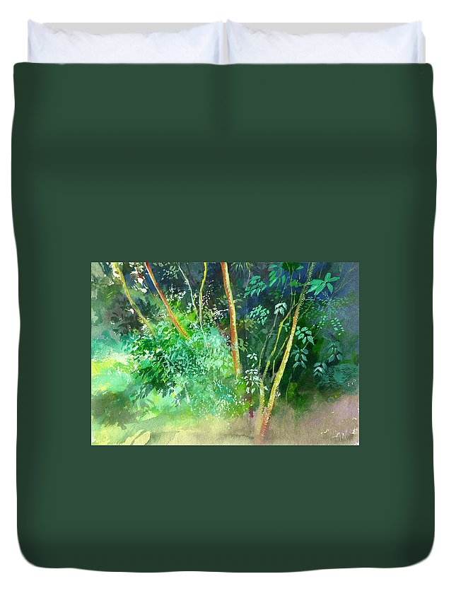 Water Color Duvet Cover featuring the painting Deep by Anil Nene