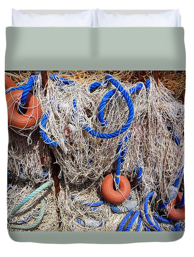 Fishing Net Duvet Cover featuring the photograph Deep Blue Net by Charles Stuart
