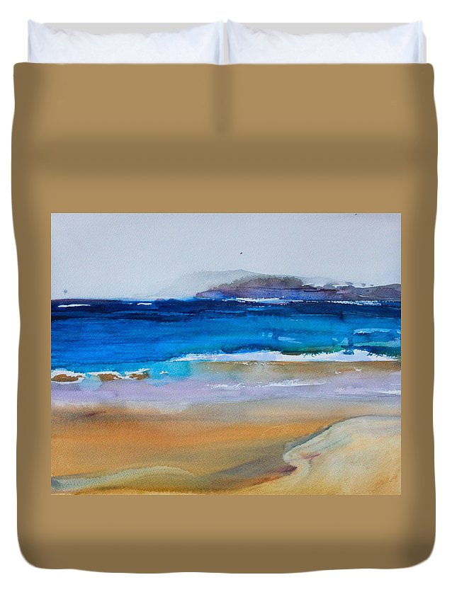 Deep Blue Sea Duvet Cover featuring the painting Deep Blue Sea And Golden Sand by Ibolya Taligas
