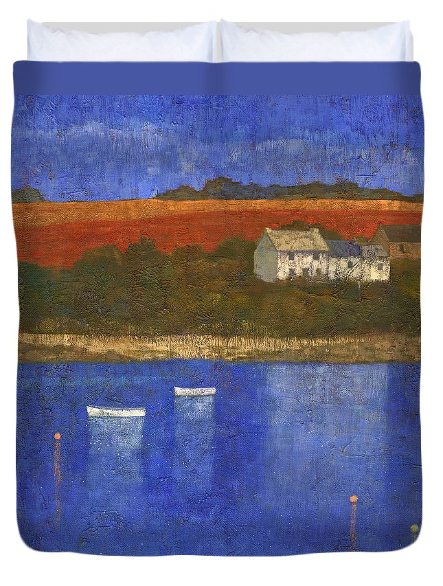 Boats Duvet Cover featuring the painting Deep Blue by Steve Mitchell