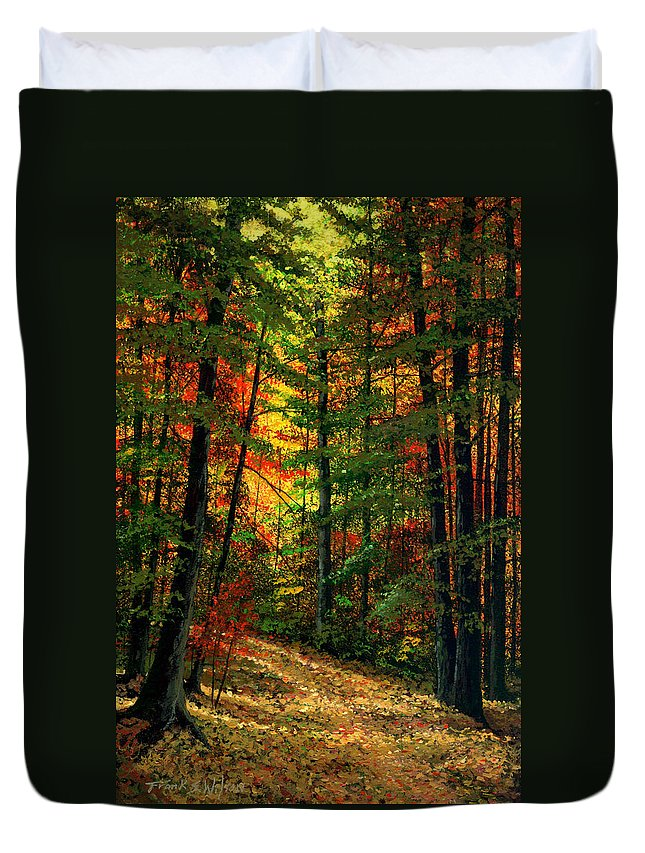 Landscape Duvet Cover featuring the painting Deep In The Forest by Frank Wilson