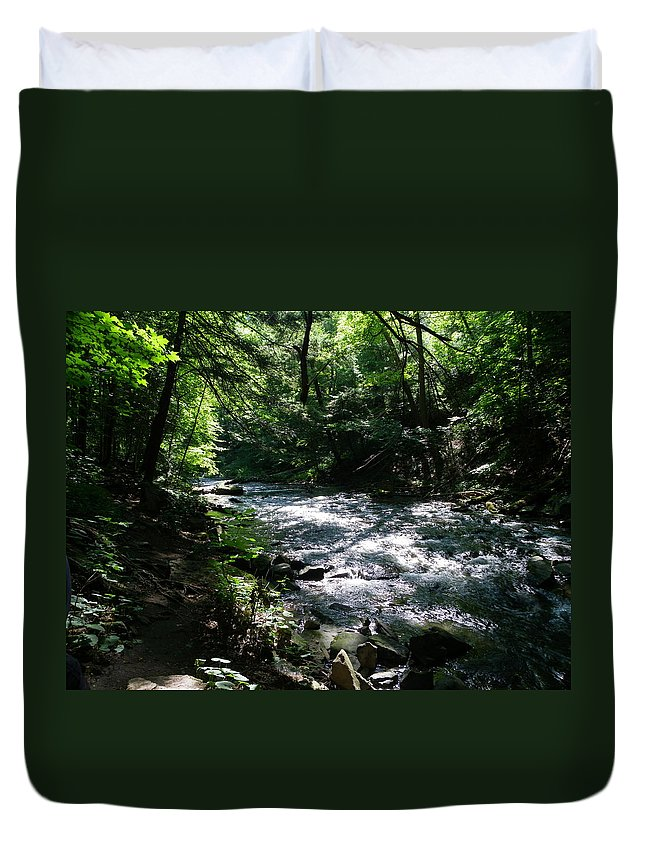 Nature Duvet Cover featuring the photograph Deep In The Gorge by Peggy King