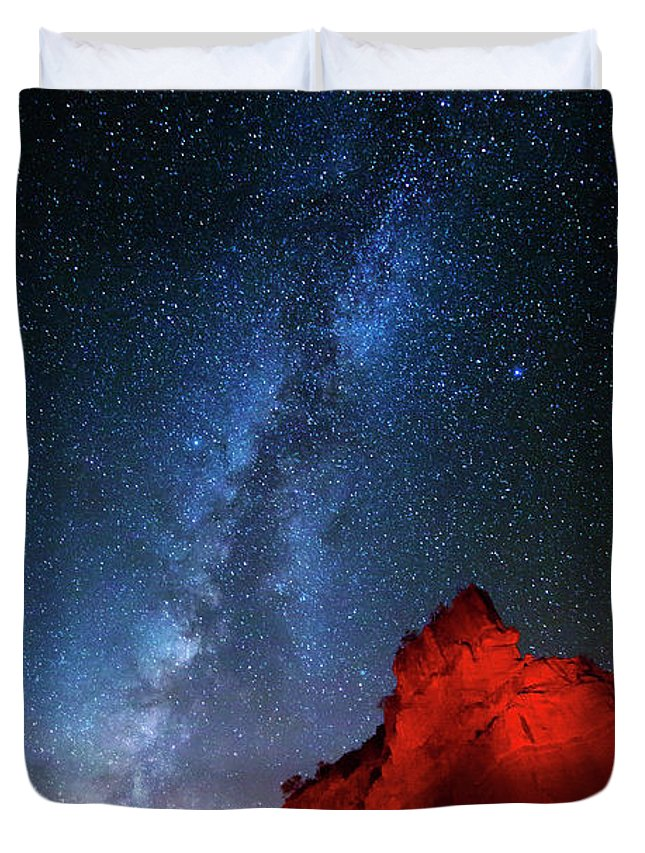 Milky Way Duvet Cover featuring the photograph Deep In The Heart Of Texas - 1 by Stephen Stookey