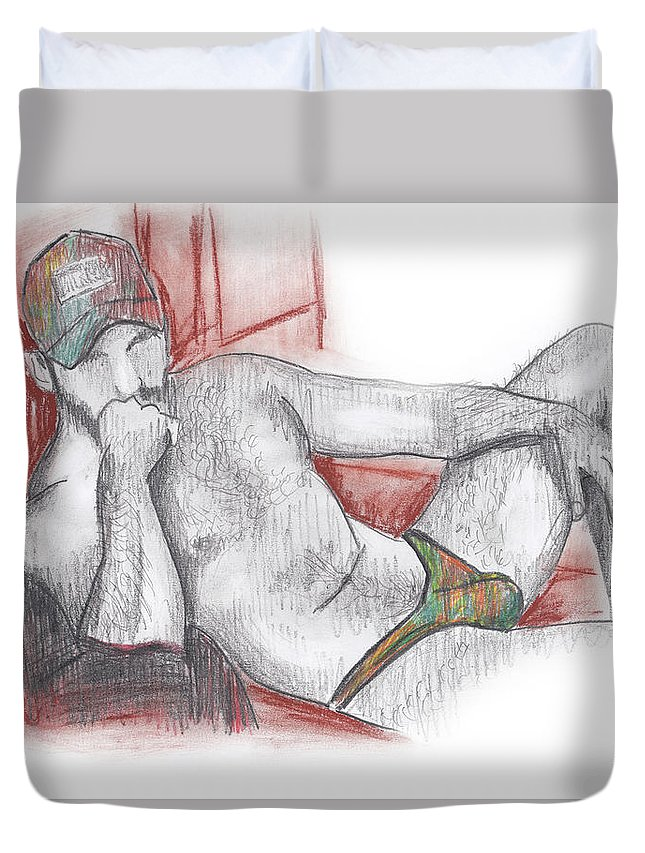 Pencil Duvet Cover featuring the digital art Deep In Thoughts by Anton Maliar