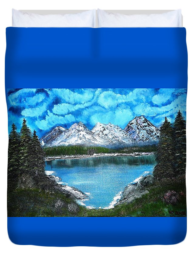 Landscape Duvet Cover featuring the painting Deep Mountain Lake by Valerie Ornstein